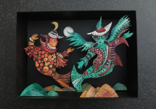Les poissons volants, 22 x 18 cm